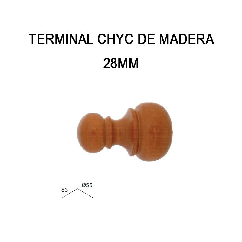 PACK 2 TERMINALES CHYC DE MADERA Ø28MM