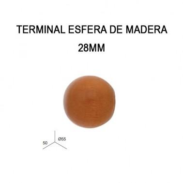 PACK 2 TERMINALES ESFERA DE MADERA Ø28MM