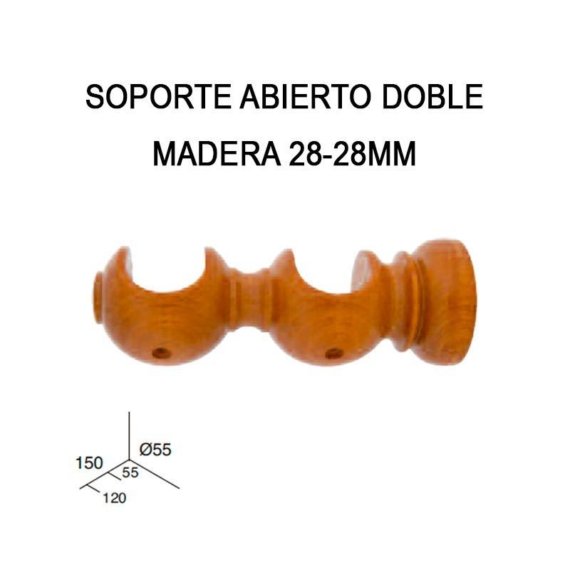 SOPORTE ABIERTO DOBLE DE MADERA Ø28-28MM